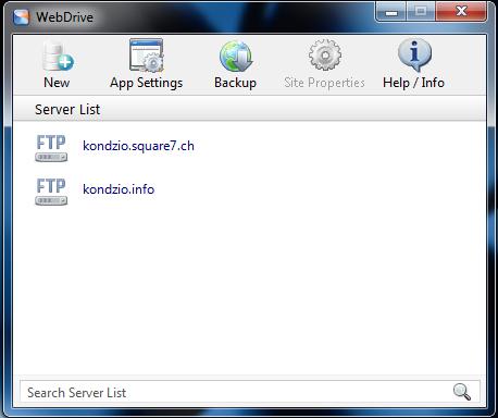 web drive - Okno programu