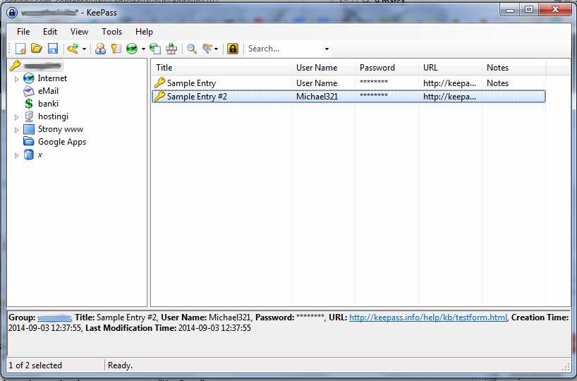 KeePass - okno główne programu